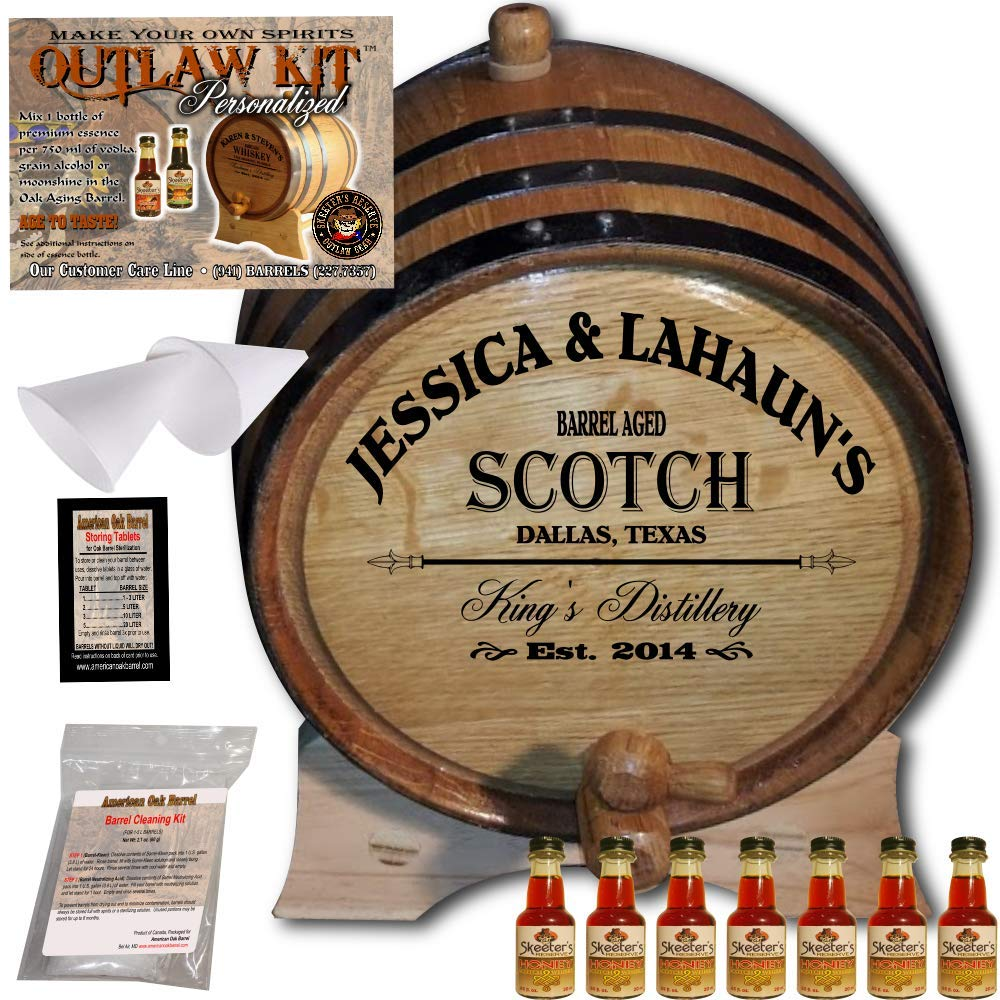 Personalized Whiskey Making Kit (061) - Create Your Own Honey Scotch Whiskey - The Outlaw Kit from Skeeter's Reserve Outlaw Gear - MADE BY American Oak Barrel - (Oak, Black Hoops, 5 Liter)