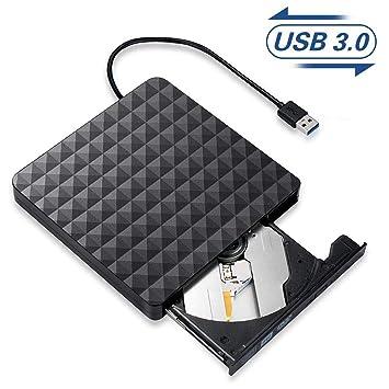 Grabadora CD/DVD Externa,Lector Unidades de Discos Externos USB 3.0 Portátiles,Ultra Slim Disquetera CD Player Rewriter para Ordenador ...