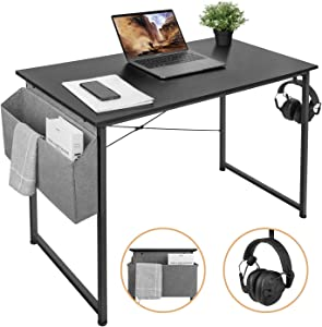 AuAg 39'' Small Computer Desk Home Office Desk, Simple Writing Desk with Storage, Black Modern Desk Laptop Desk Sturdy Work Table PC Computer Table, Small Home Desk Workstation- Black Desktop