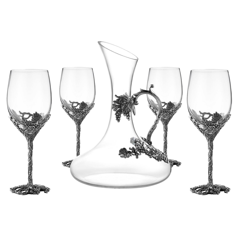 Wine Glasses Set of 5, Crystal Wine Glasses Set 4x 12oz Wine Glasses 1x 52oz Decanter with Enamels