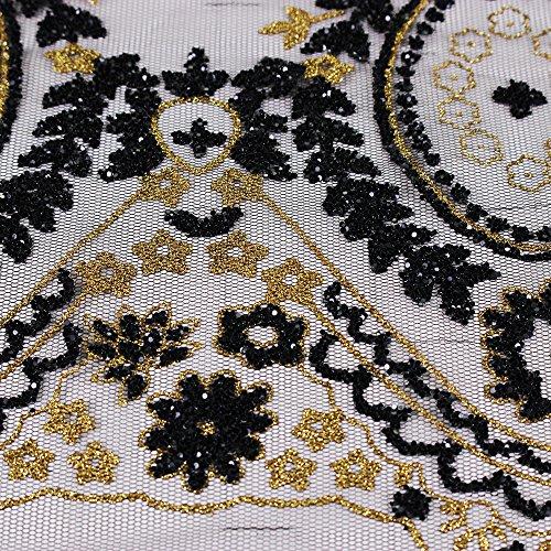 Di Motivo I Oro Vestiti Perline Cavo Abbellimento Vestito Paillettes Rifilatura Africano Nero Assetto Pizzo Per Cucito Applique 2yards CqvwZXAKw
