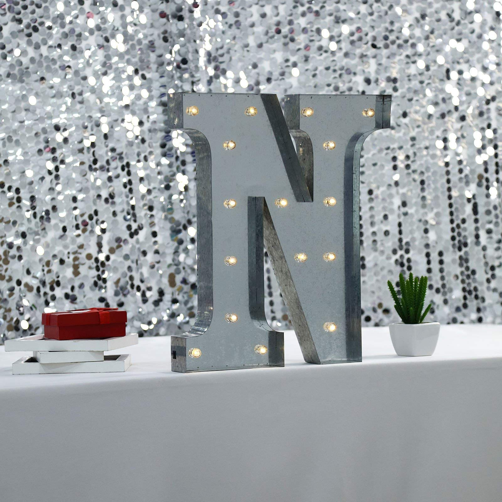 Tableclothsfactory 2 FT   Vintage Metal Marquee Letter Lights Cordless with 16 Warm White LED - N by Tableclothsfactory