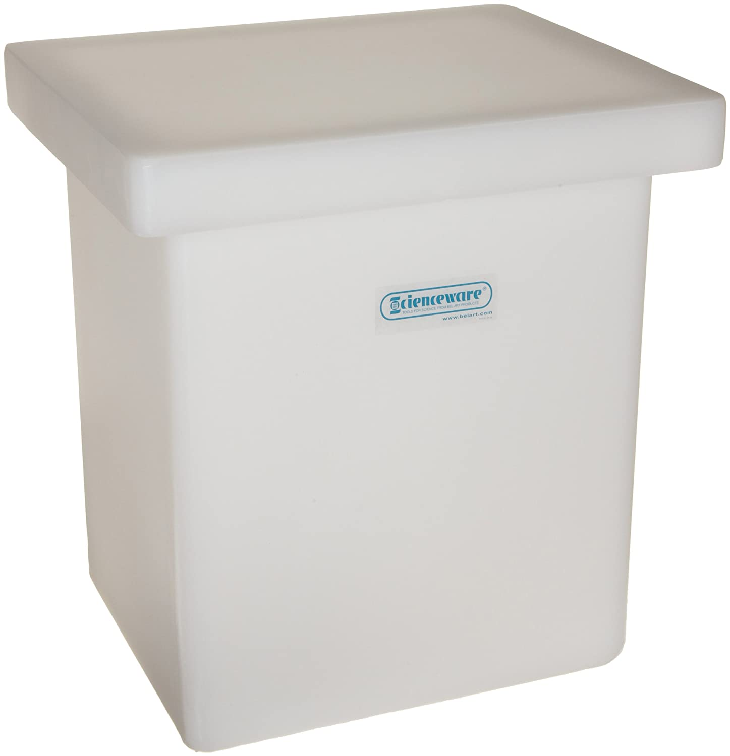 Without Faucet; 15.25 x 12 x 19 in. Bel-Art Heavy Duty Polyethylene Rectangular Tank with Top Flanges H34085-0000