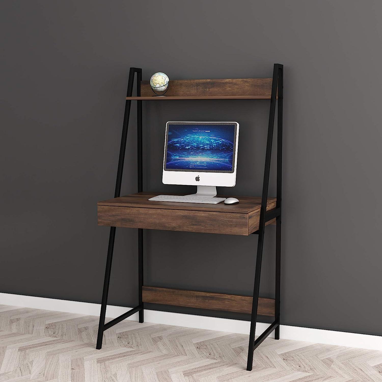 2-tier Home Office Computer Laptop Desk with Drawer , Nutmeg Brown Finish Black Frame