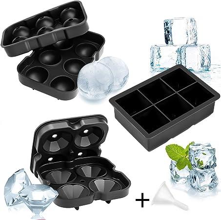 boule de glace et bac /à gla/çons diamant avec couvercles grand moule /à gla/çons pour whisky Cocktail ou nourriture pour b/éb/é Whaline Lot de 3 bacs /à gla/çons en silicone
