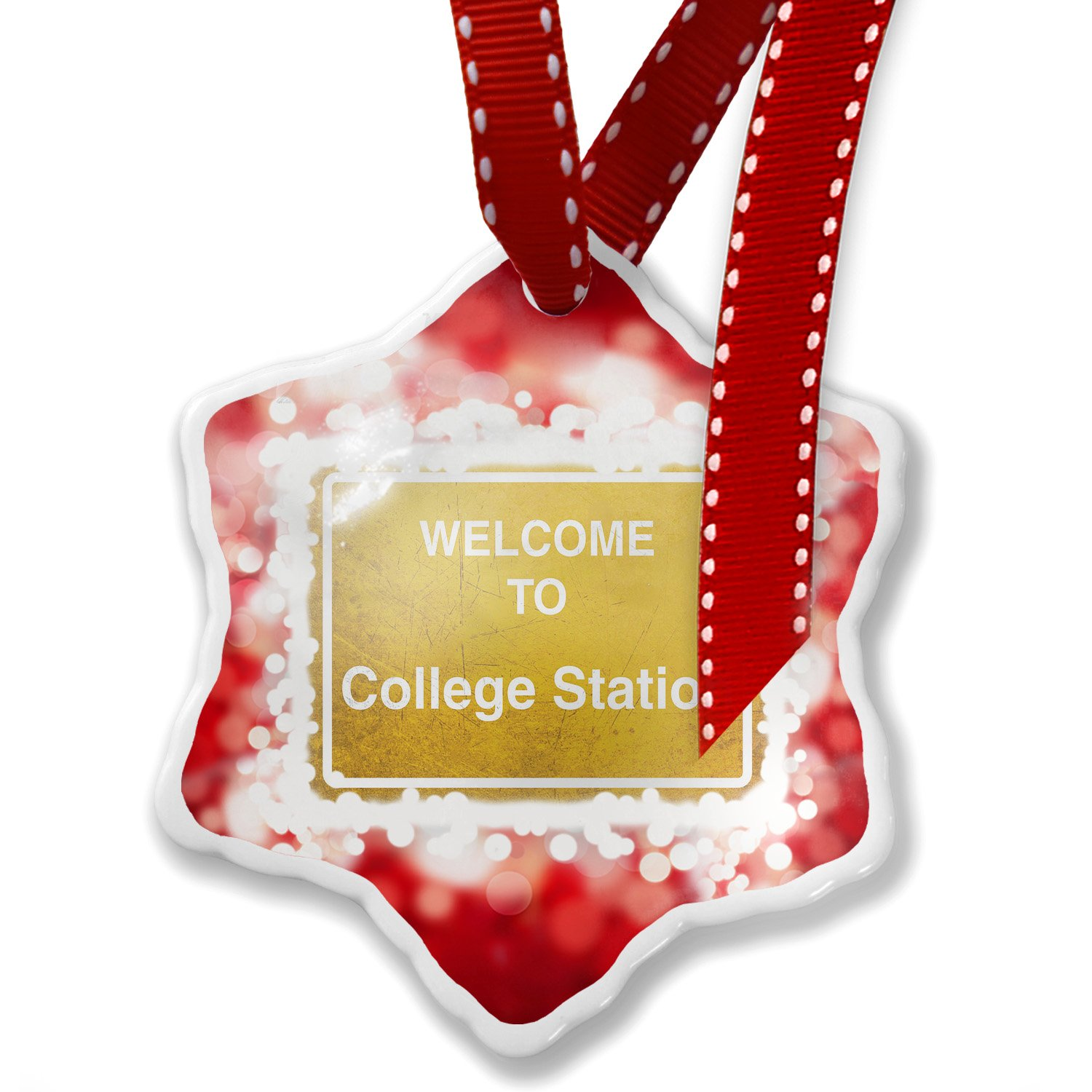 Christmas Ornament Yellow Road Sign Welcome To College Station, red - Neonblond