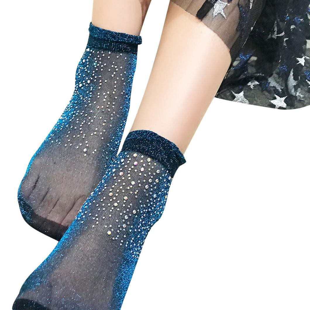 Women Socks, Swyss Ultra-thin Elastic Net Transparent with Rhinestone Crystal Silk Stockings Women Lace Ankle Socks (Blue)