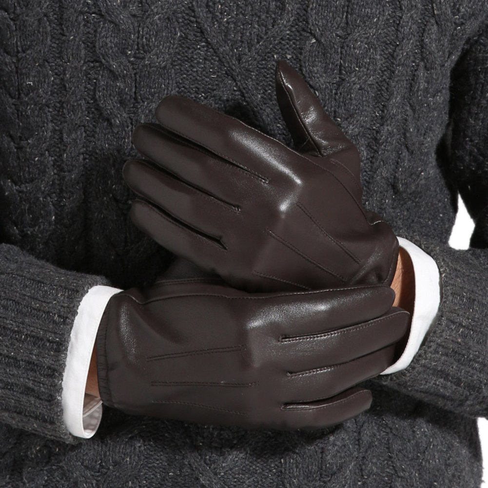 Magelier Men's Genuine Lambskin Nappa Leather Motorcycle Driving Love Couple Gift for Men Lined Gloves,Coffee,US 9 by Magelier (Image #3)