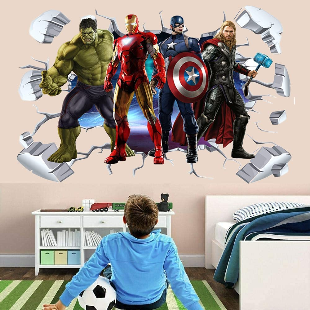 Superhero Wall Stickers, 3D Avengers DIY Removable Big Wall Decals, Excellent PVC Cartoon Superhero Wall Decor for Kid Boys Bedroom Living Room Playroom Decor (23.6 x 35.4inches)