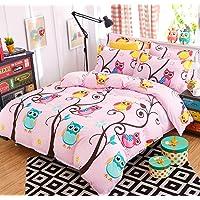 AShanlan Ropa de cama infantil para niña, 135 x 200 cm, 2 piezas, diseño de búhos, 100% microfibra, funda nórdica y…