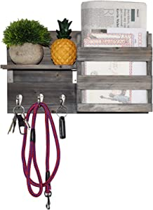 Spiretro Wall Mount Entryway Mail Envelope Organizer, Key Holder Hooks, Leash Hanging, Coat Rack, Letter & Newspaper Storage, Ornament Home Decorative Floating Shelf, Rustic Weathered Grey & Black