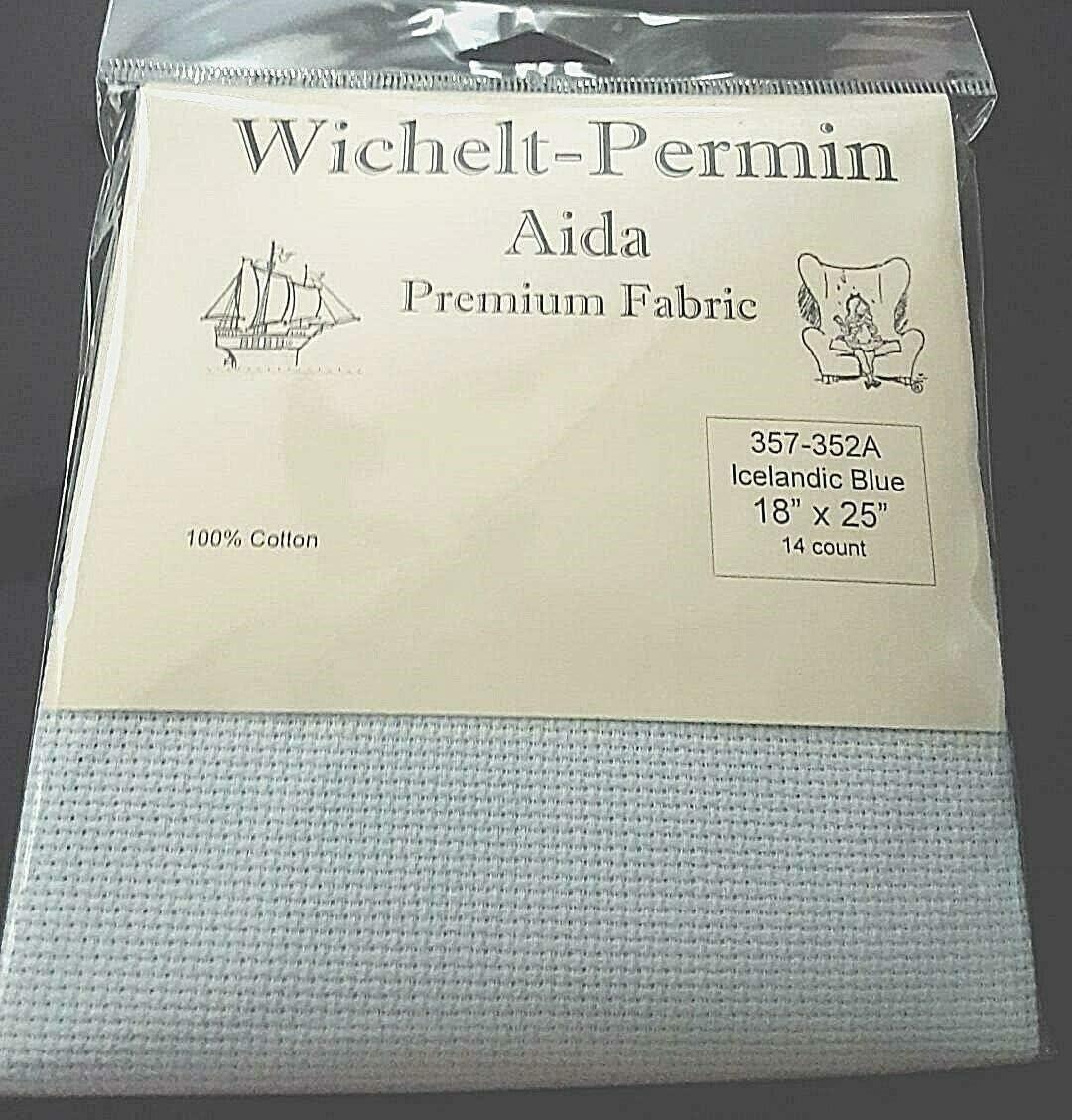 Wichelt Permin Aida Premium Fabric 14 Count 18 x 25 Icelandic Blue
