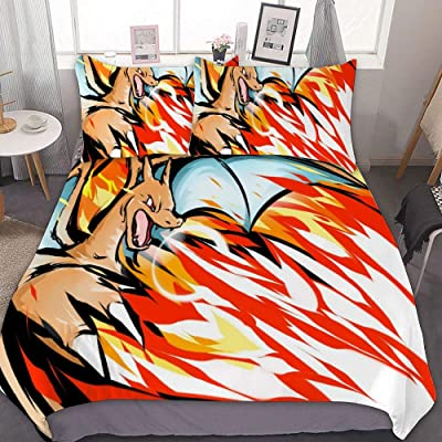 MEW Anime Poke-mon Twin Bedding Duvet Cover Set,Charizard (02),3 Pieces Bedding Set,with Zipper Closure and 2 Pillow Shams,Cute Boys Girls Comforter Sets,Luxury Guestroom Decorations: Kitchen & Dining