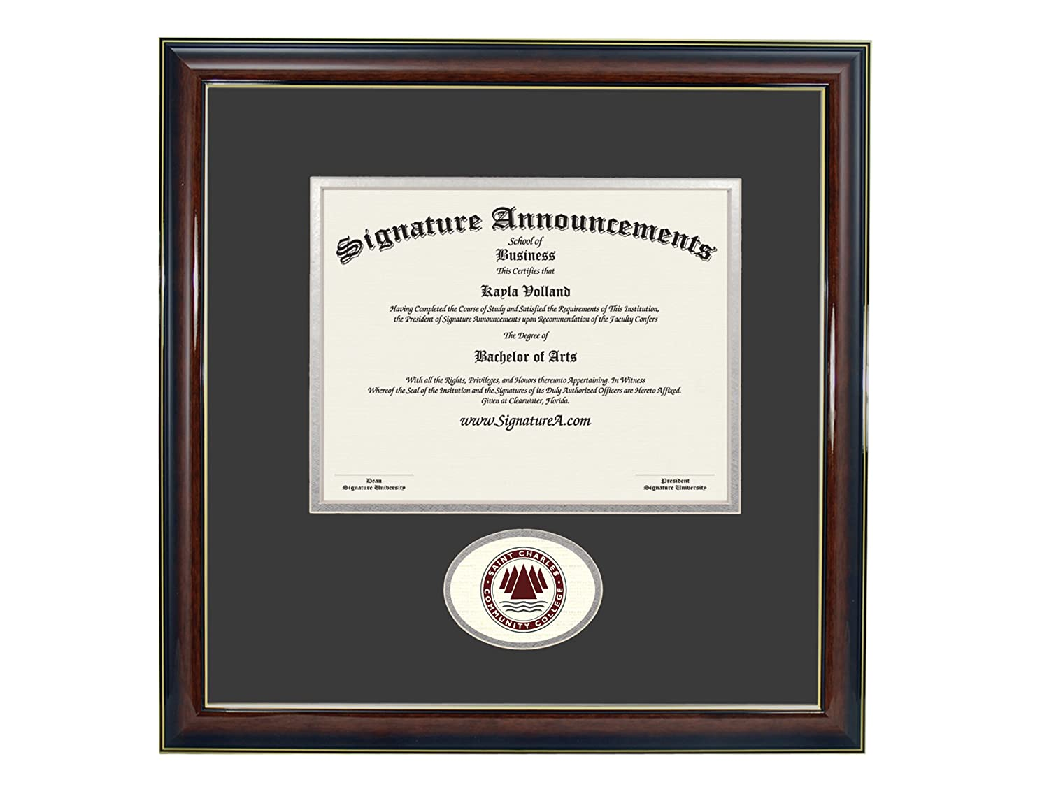 Sculpted Foil Seal Graduation Diploma Frame 16 x 16 Gold Accent Gloss Mahogany Signature Announcements St-Charles-Community-College Undergraduate