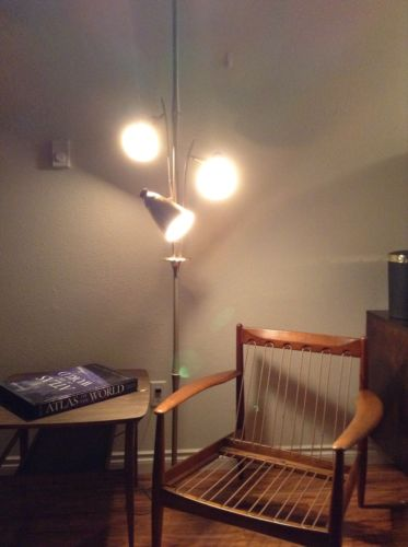Mid Century Modern Tension Pole Lamp with 3 Brass Cone Shades | eBay