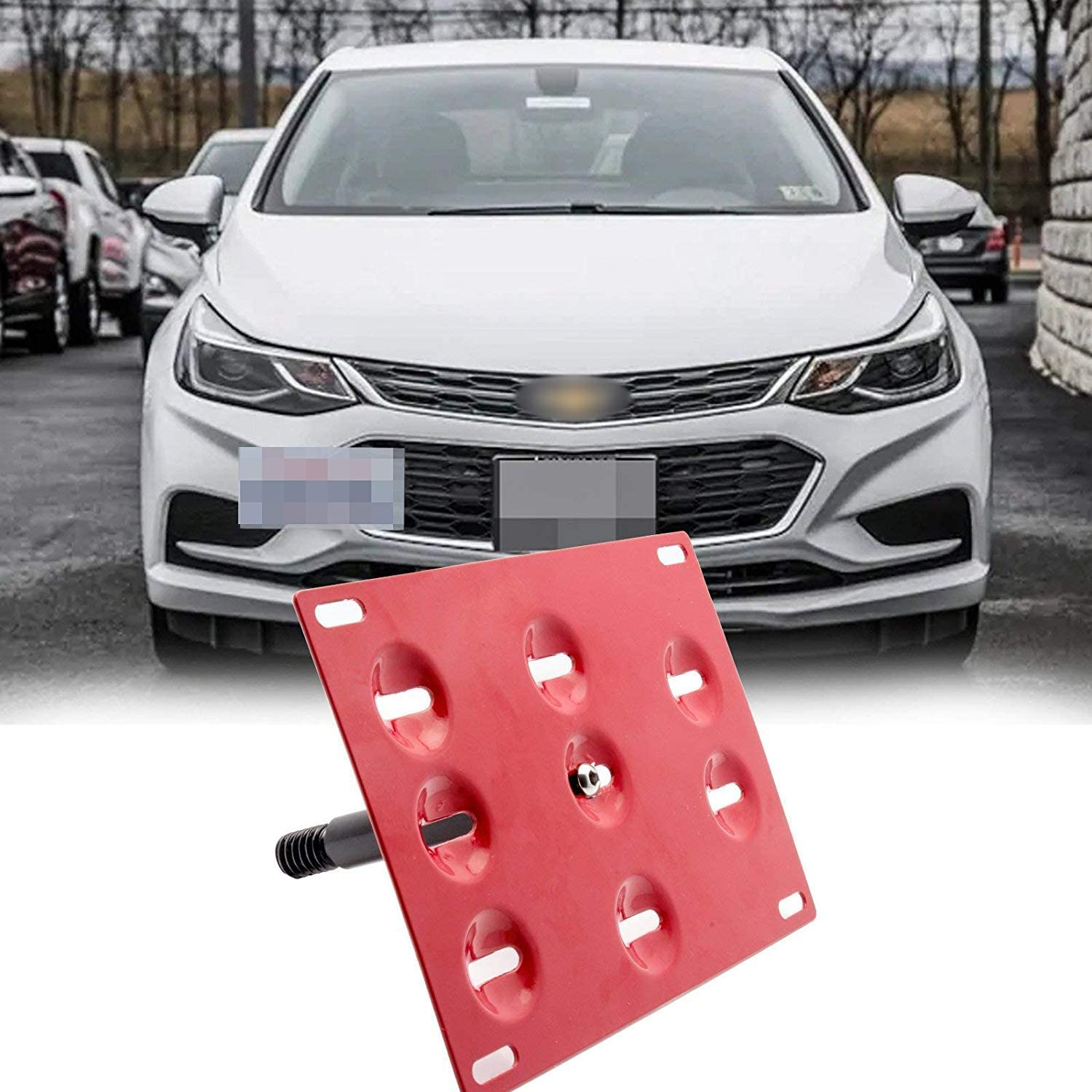 Black Front Bumper Tow Hook License Plate Mounting Bracket for Chevrolet Cruze