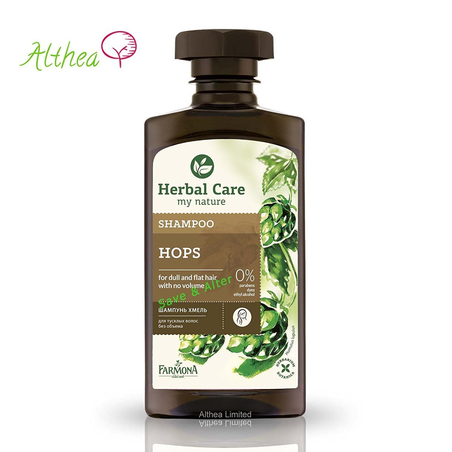 Herbal Care Hops Shampoo for hair without volume and weak Farmona