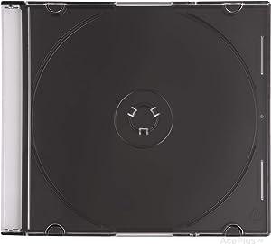 AcePlus 100 Slim Black CD Jewel Cases 5.2mm with Free Bonus Gift 10-pk CD-R 80 mins Discs
