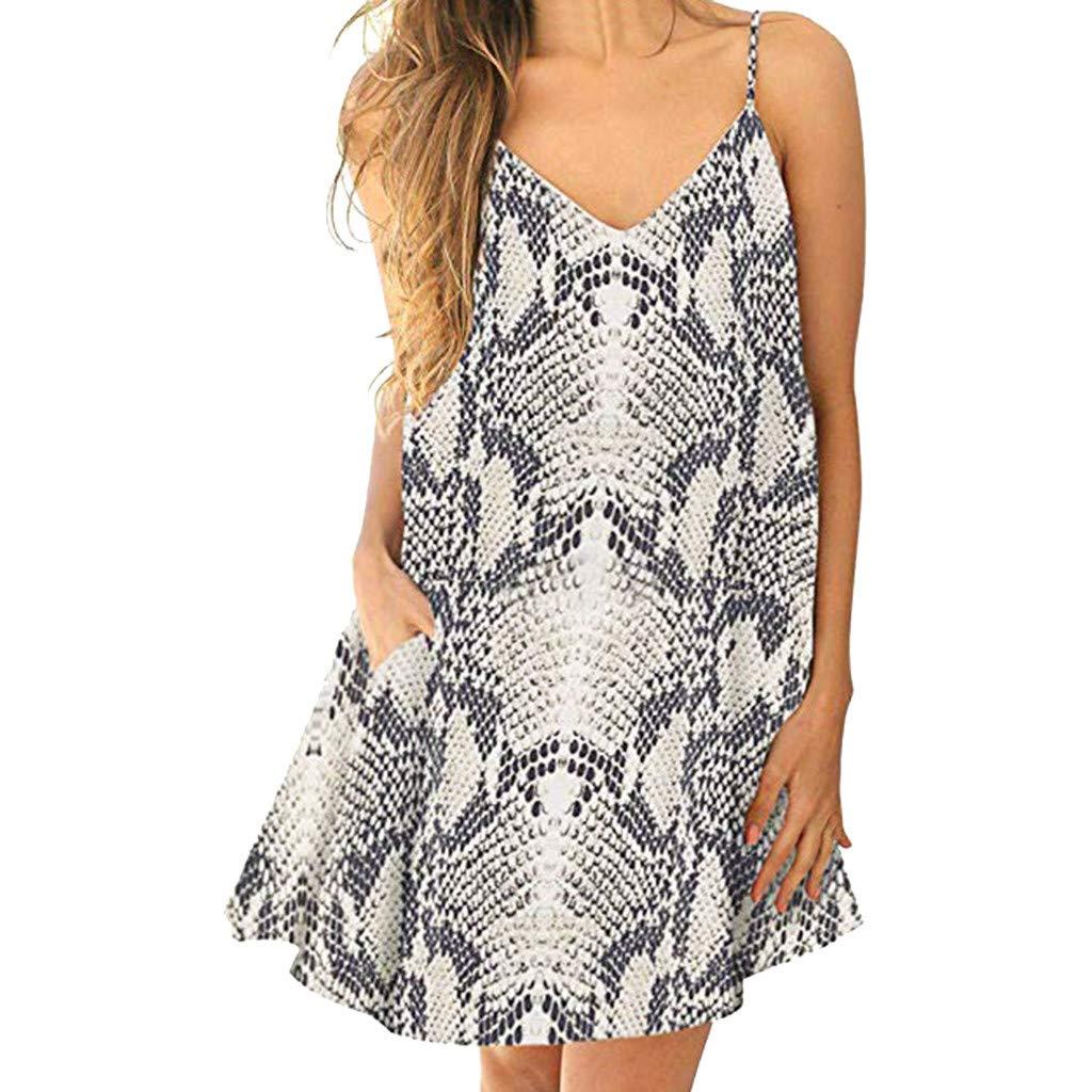 Sexy Women's Dresses Sale Teen Girls V-Neck Leopard Print Camisole Sleeveless Pocket Mini Dress Gray
