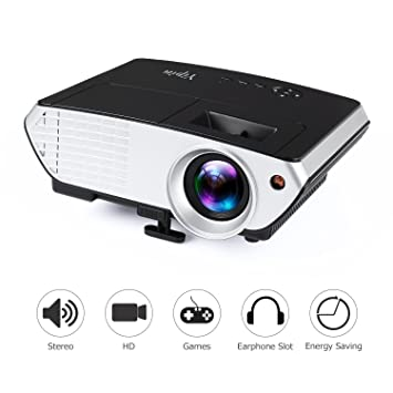 Aidodo Proyectores Mini Video Proyector 1800 lúmenes Videoproyector Full HD LCD Projector Portátil Home Cinema con USB HDMI VGA para Video Game Movie ...