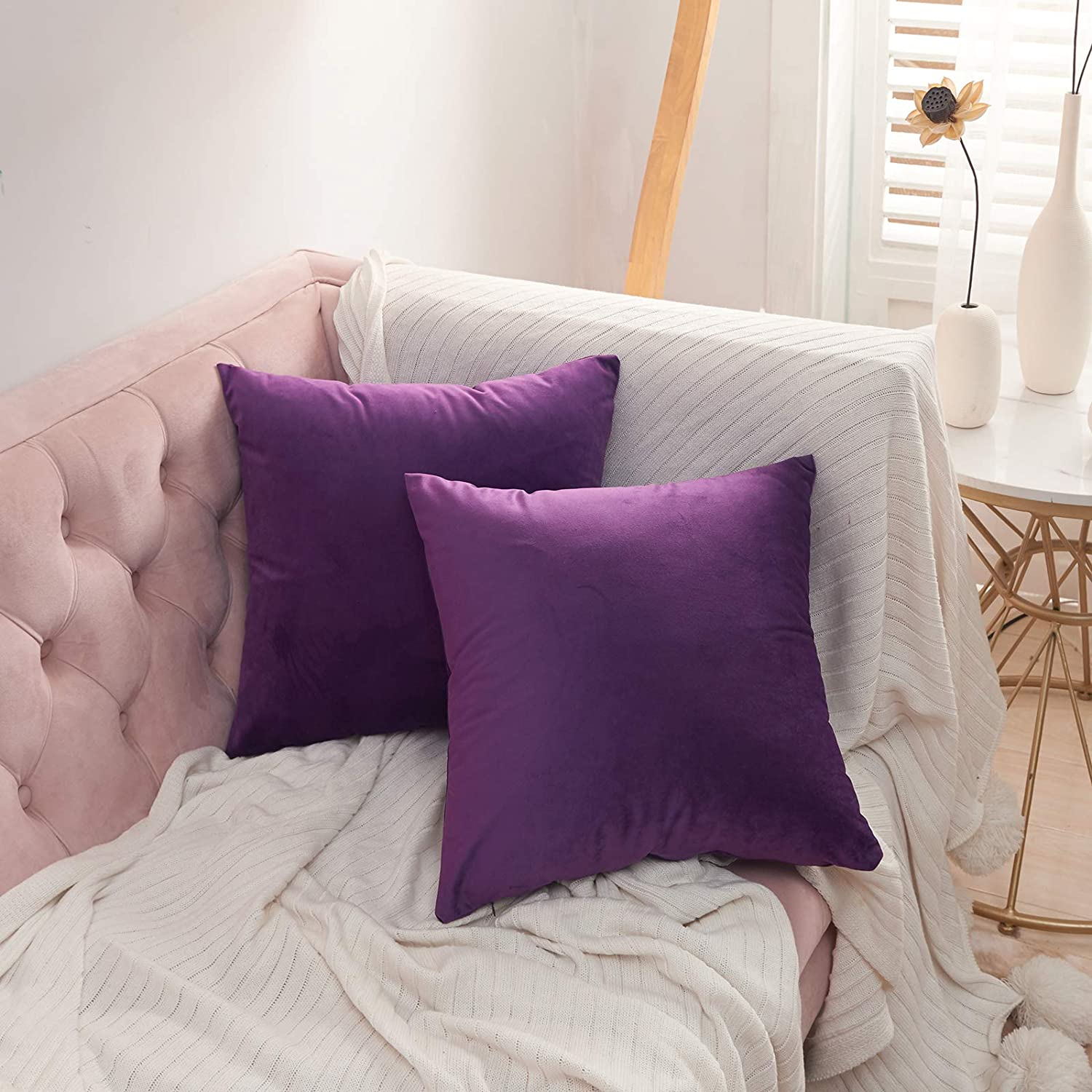 Volcanics Velvet Decorative Throw Pillow Covers Set of 2 Soft Solid Square Couch Pillow Cover Case Cushion Pillowcase 18x18 Inches for Home Decor Sofa Bedroom Car, Eggplant Purple