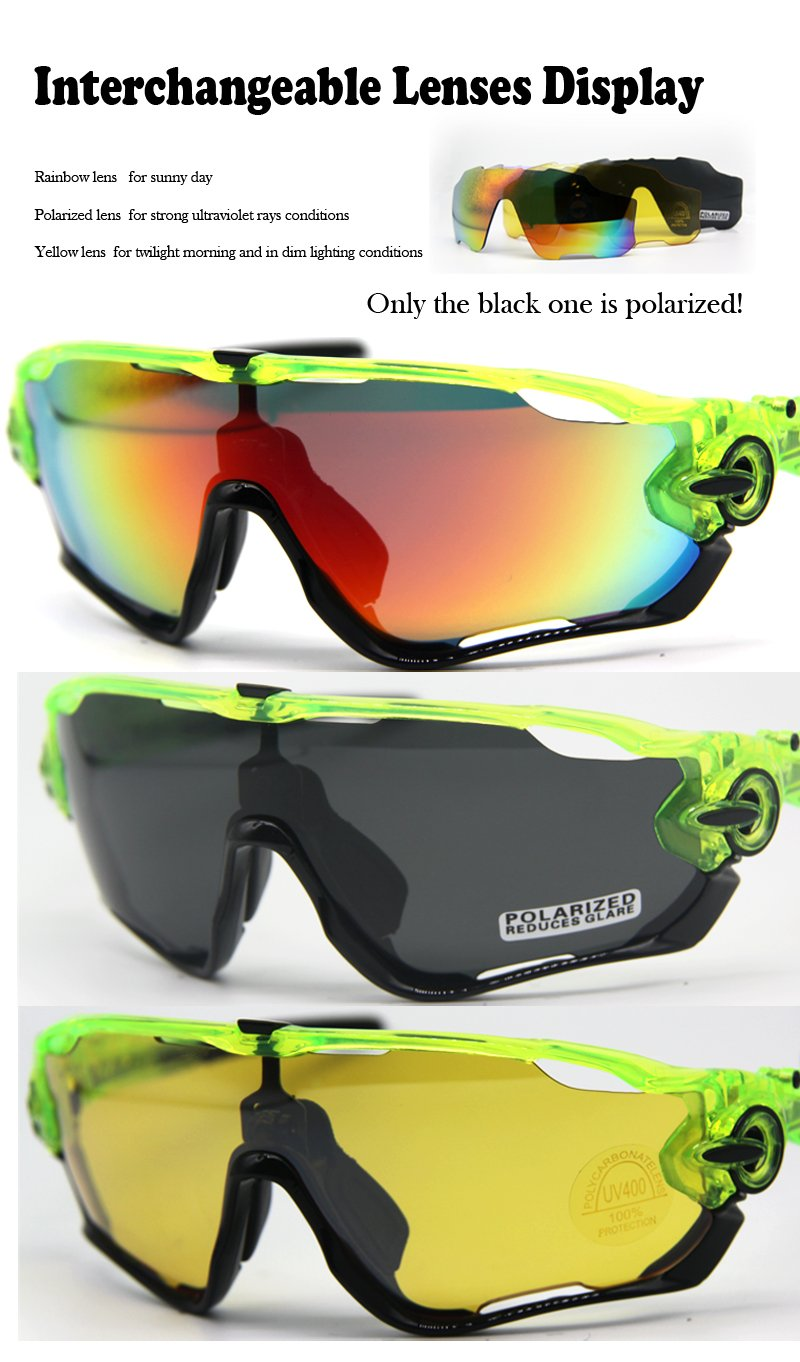 Playbook Polarized Cycling Sunglasses Mountain Bike Sports Glasses Road Bicycle Goggles Eyewear with Changeable 3 Lens