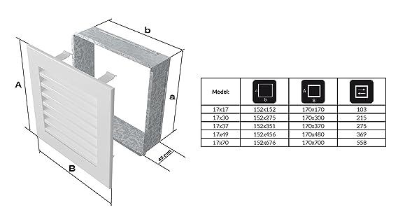 Kratki rejilla de ventilación Chimenea rejilla Fresh 17 cm x 49 cm Color Negro: Amazon.es: Bricolaje y herramientas