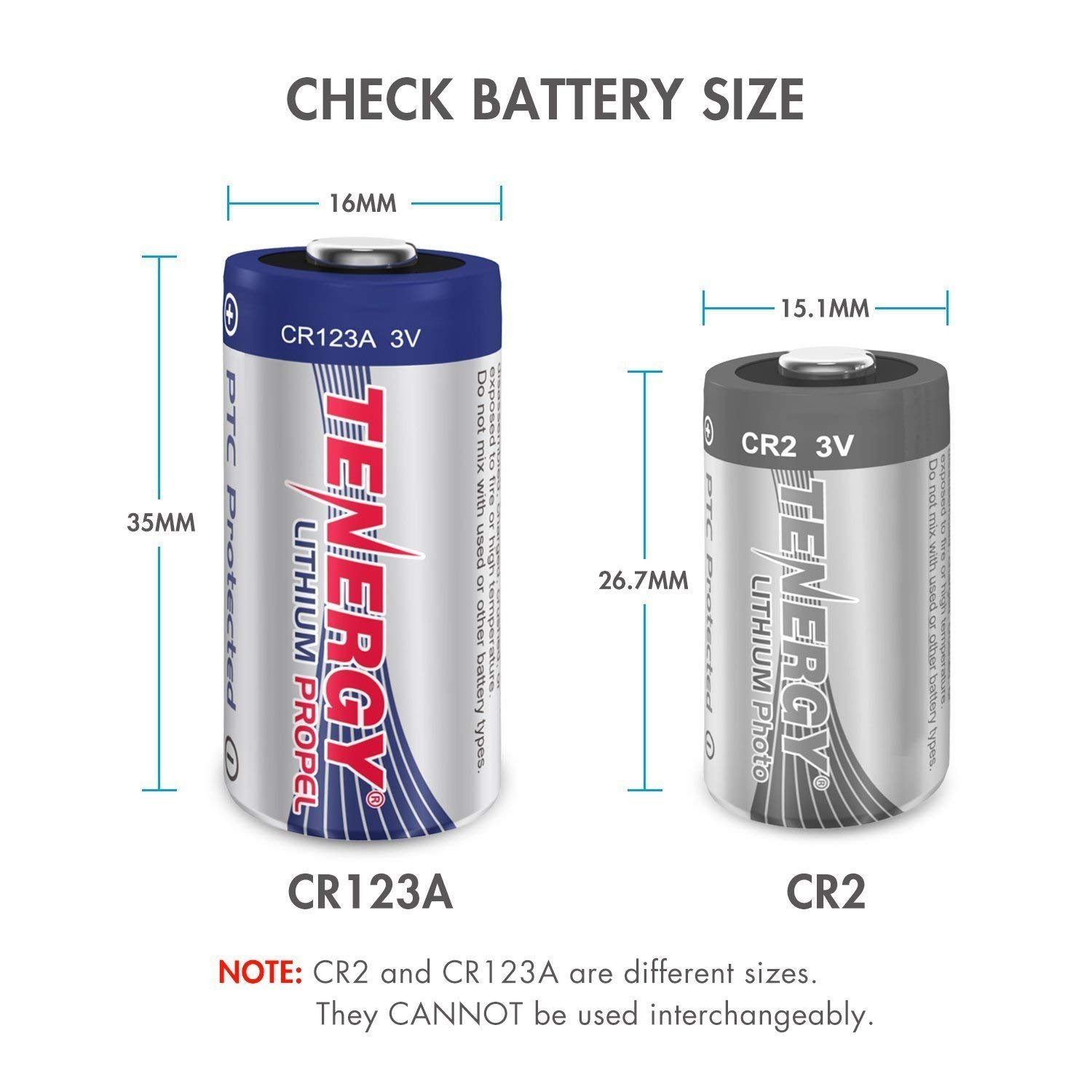 Tenergy Propel 1500mAh 3V CR123A Lithium Battery, High Performance CR123A Cell Batteries PTC Protected for Cameras, Flashlight Replacement CR123A Batteries, 40-Pack by Tenergy (Image #2)