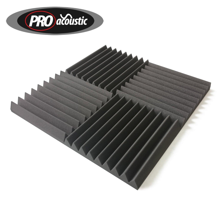 Pro Acoustic Akustikschaumstoffmatte, 24 Stück 305 x 305 x 45mm grau Comfortex Acoustics Acoustic Foam Wedge Tile