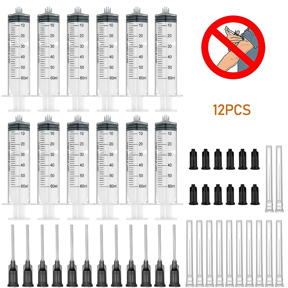 12 Pack 60ml Syringes with 16Gx1.0'' Blunt Tip Fill Needles and Storage Caps(Luer Lock)-Dozen Pack by Agemore