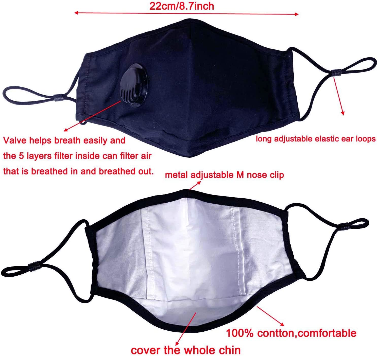 Face Coverings Reutilizables Lavables con 2 Piezas Filtro protecci/ón Total con Gancho Ajustable