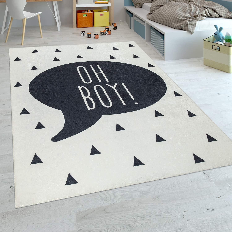 Gr/össe:80x150 cm Paco Home Kinderteppich Kinderzimmer Jungen Babyteppich Waschbar Spruch Trend Schwarz Wei/ß