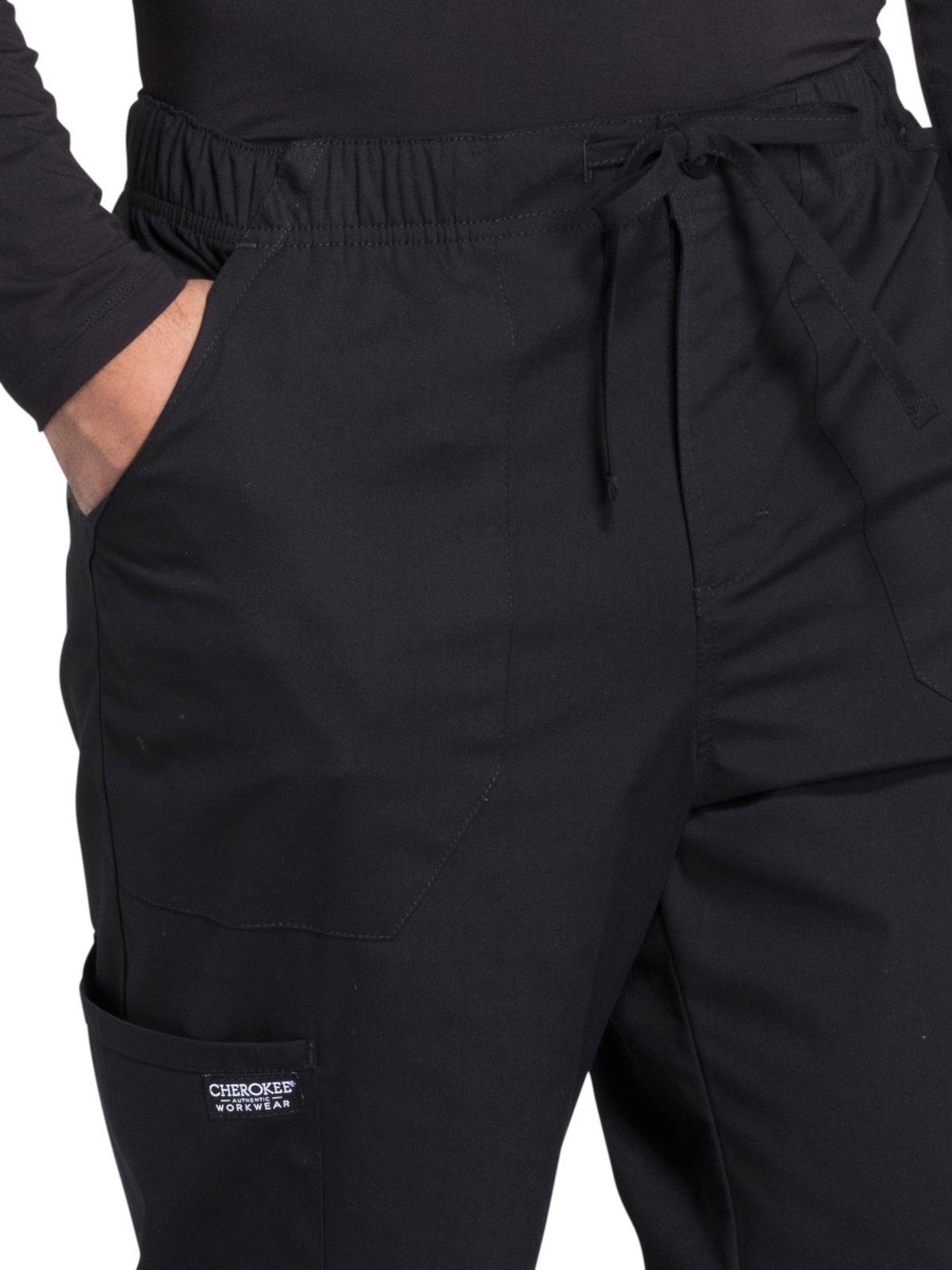 Cherokee Professionals Workwear Men's Tapered Leg Zip Fly Drawstring Scrub Pant X-Large Tall Black by Cherokee (Image #3)