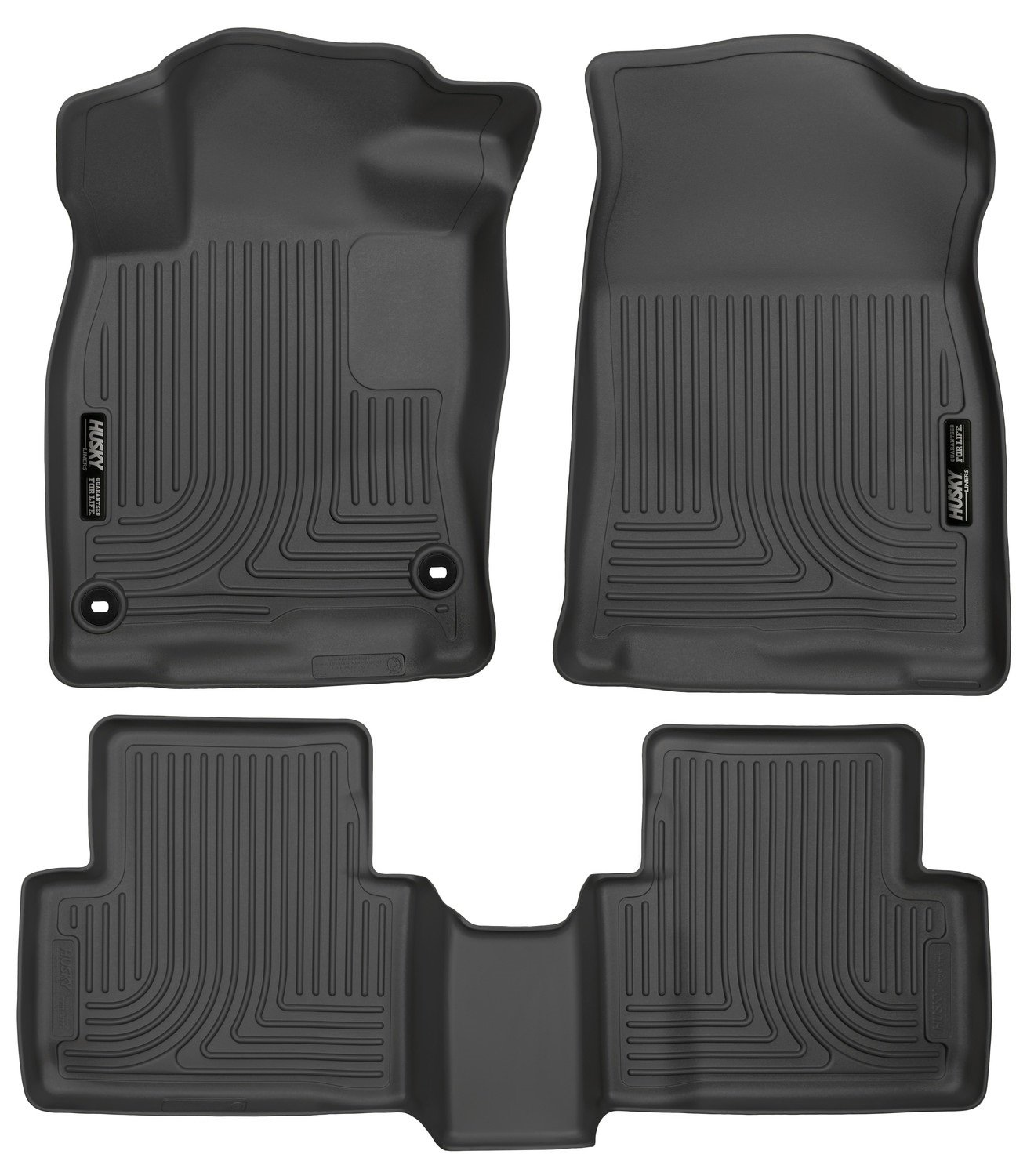Husky Liners 98461 Black Weatherbeater Front & 2nd Seat Floor Liners Fits 2016-2019 Honda Civic Coupe/Sedan, 2017-2019 Honda Civic Hatchback by Husky Liners (Image #1)
