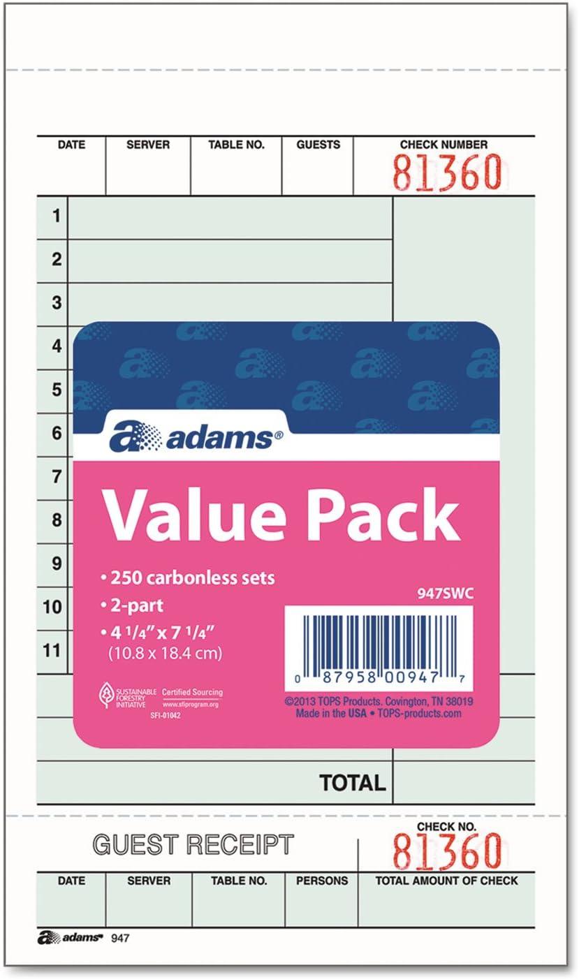 Carbonless 250 Sets//Pack 2-Part Adams Guest Check Unit Sets 947SWC White Bond//Tag 4-1//4 x 6-3//4 Inches Detached