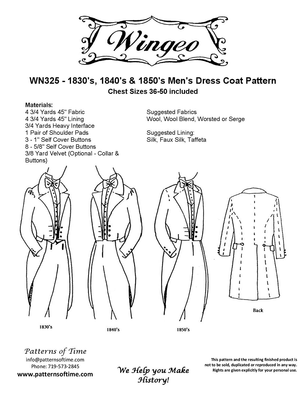 Amazon 1830s 1840s and 1850s dress mens dress coat pattern jeuxipadfo Images