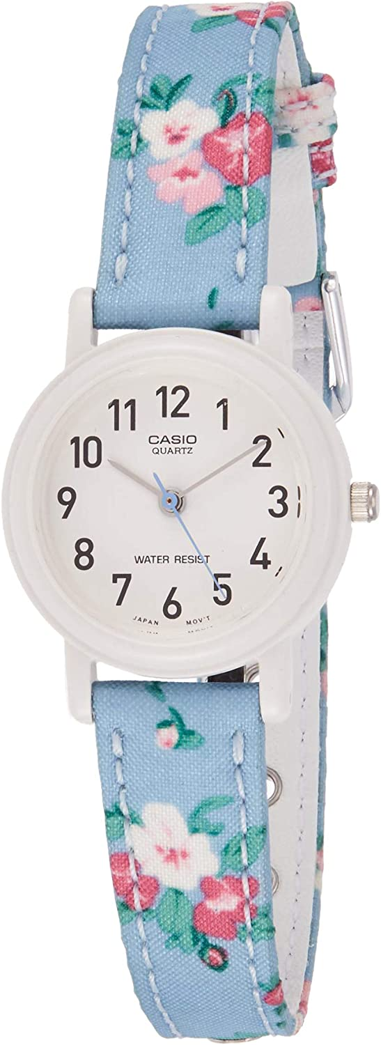 Casio Women s Leather Fabric Blue Floral Analog Watch LQ-139LB-2B2