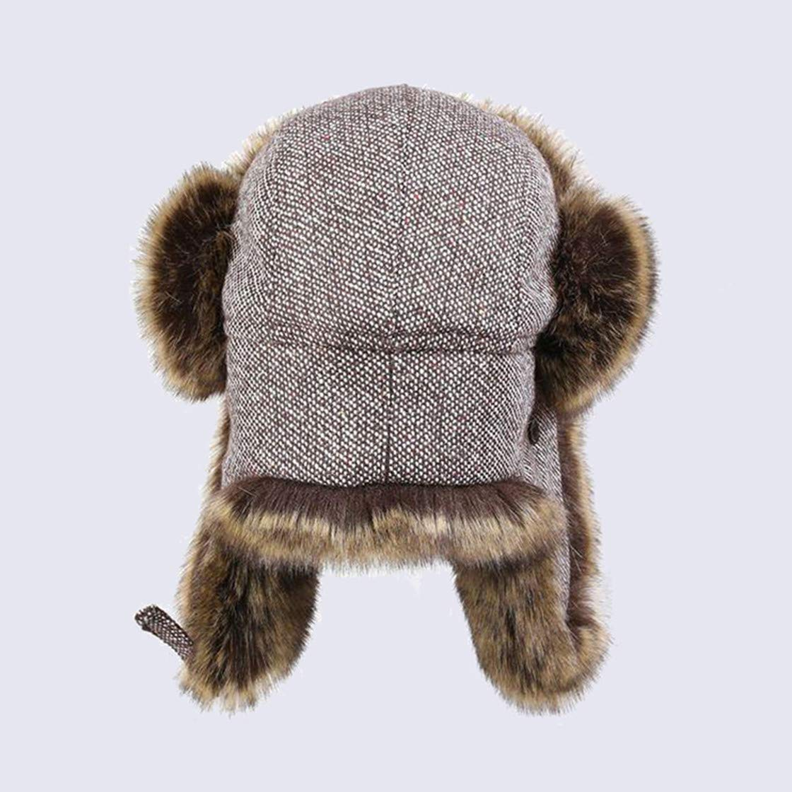 503c943b Men Trapper Hats Faux Fox Fur Bomber Hat Winter Warm Snow Caps Wool Knitted  Cap at Amazon Men's Clothing store: