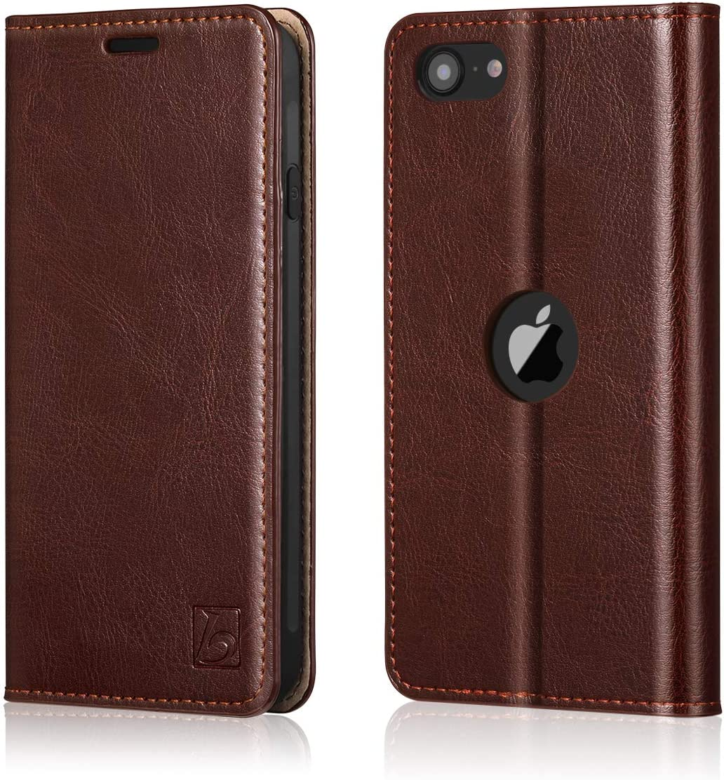 Belemay Wallet Case for New iPhone SE 2020 [2nd Generation], Cowhide Genuine Leather Folio [RFID Blocking] Card Holder Kickstand Protective Flip Cover Slim Fit for New iPhone SE 2020 (4.7 inch), Brown