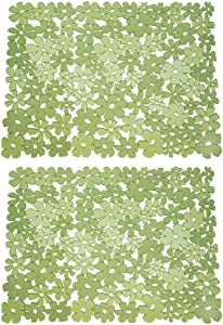 """mDesign Adjustable Kitchen Sink Dish Drying Mat/Grid - Soft Plastic Sink Protector - Cushions Sinks, Stemware, Glasses, Dishes - Quick Draining Flower Design - Large, 17.2"""" Long - 2 Pack - Green"""