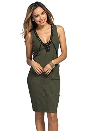 bd0d10ad68d4 Babe Society Women's Olive Ribbed Bodycon Plunging Lace Up Tank Dress Medium