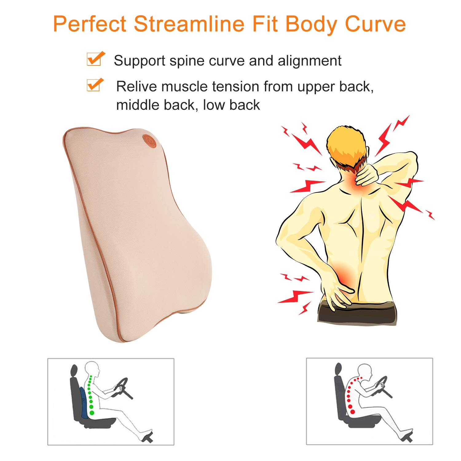 Anyshock Car Headrest Pillow Memory Foam Car Neck Support Pillow Auto Head Neck Rest Cushion with Ergonomically for Adjust Sitting Position Relief Pain of Back//Spine//Coccyx in Travel//Office//Home//Car