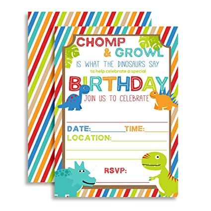 Amazon Cute And Colorful Dinosaur Birthday Party Invitations