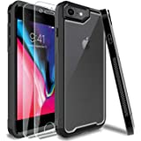 HATOSHI iPhone 7, iPhone 8 Case with Screen Protector Tempered Glass 2 Pack, Dual Heavy Duty Protection Shockproof Clear Prot