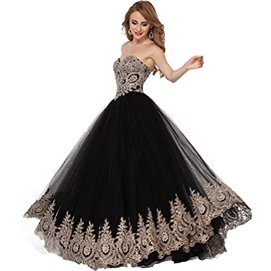 Lemai Black Tulle Gold Lace Crystals Corset Prom Evening Dresses Long Formal US 2