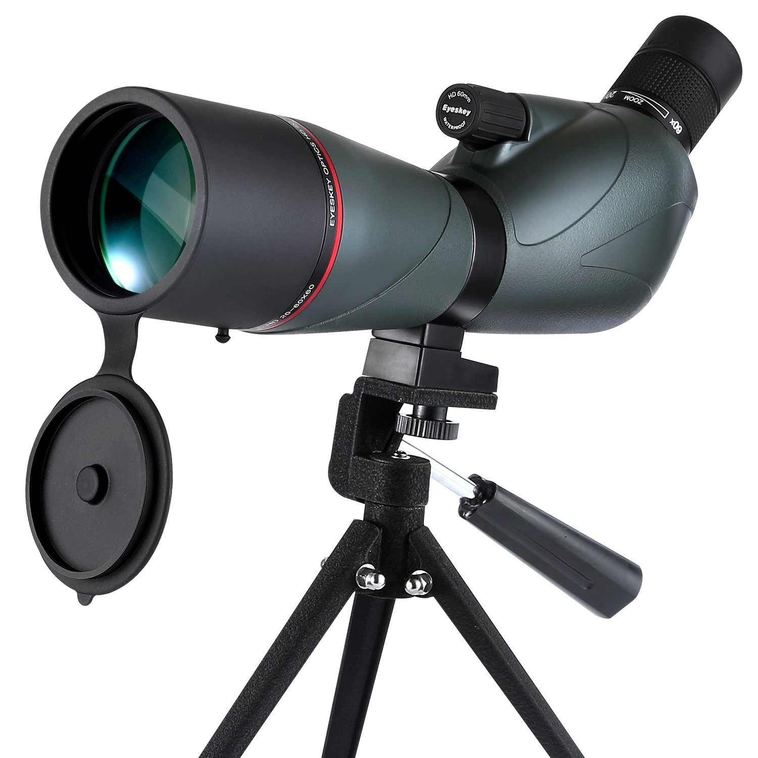[Upgraded] Eyeskey Waterproof 20-60x60 Zoom Spotting Scope Telescope - Professional for Hunting-Porro Prism Spotting Scopes with Carry Pouch and Tripod, Green by Eyeskey