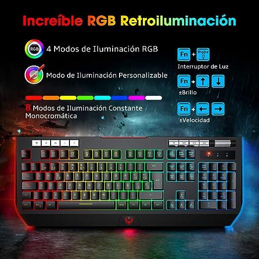 PICTEK Teclado Gaming RGB con Soporte para Teléfono Móvil, Rueda de Volumen, Teclado USB con 21 Botones Multimedia, Ergonómico / Conveniente / ...