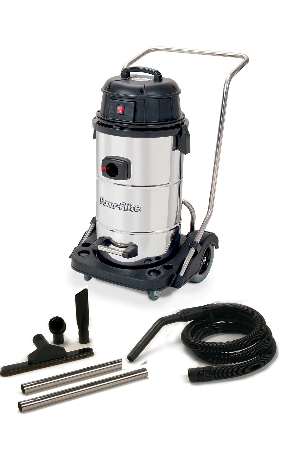 Powr-Flite PF53 Wet Dry Vacuum with Stainless Steel Tank and Tool Kit, 15 gal Capacity