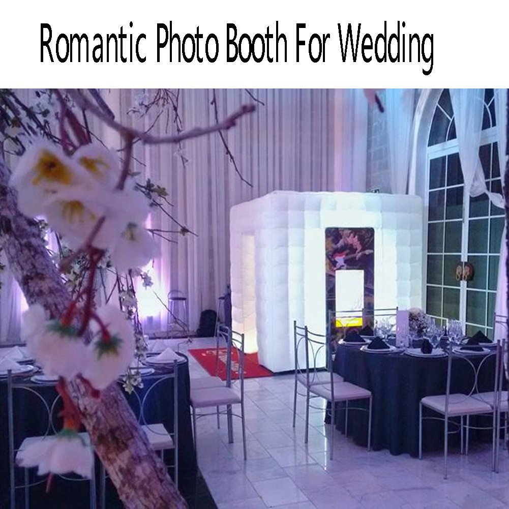 Inflatable Portable Photo Booth Enclosure - Inflatable Photobooth with Led Lights 4 Bulbs and Inner Air Blower Photo Booth Cube for Party, Wedding, Birthday, Halloween Decoration (Two Door White) by AIRMAT FACTORY (Image #6)