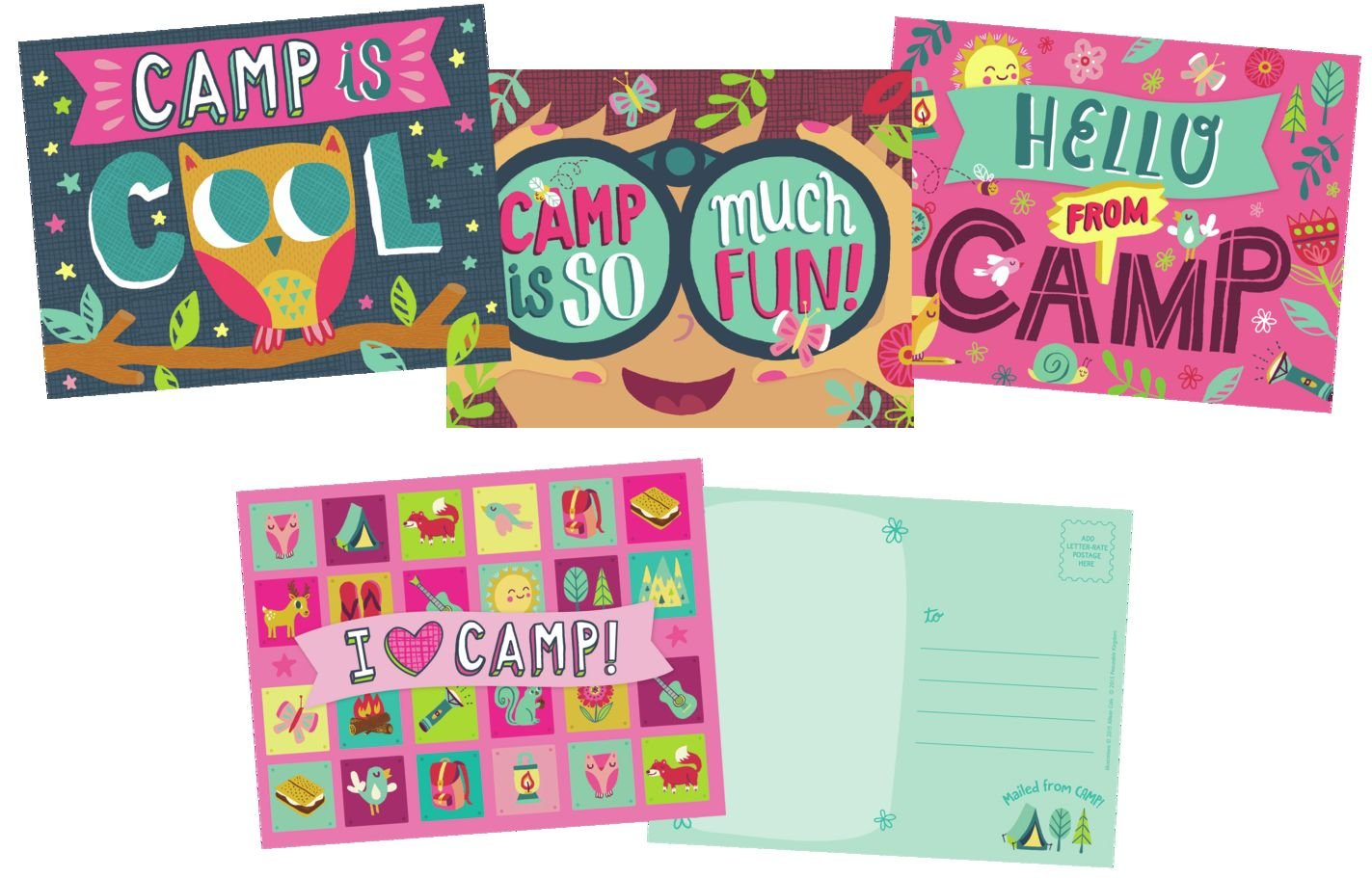 12 Postcards In 3 Designs made our CampingForFoodies hand-selected list of 100+ Camping Stocking Stuffers For RV And Tent Campers!